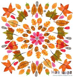 Autumn Mandala by Tracey English Autumn Witch, Autumn Art, Autumn Leaves, Autumn Illustration, Graphic Illustration, Leaf Drawing, Leaf Art, Floral Illustrations, Collage