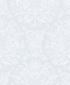 Mika Wallpaper A delightful wallpaper featuring stylised flowers, trees and birds which together form a large ogee trellis when looked at from a distance. Shown in pale duck egg.