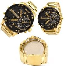 Daddy Black Dial Gold Quartz Watch New Diesel Watches For Men, Patek Philippe, Breitling, Gold Watch, Rolex, Bracelet Watch, Daddy, Rose Gold, Michael Kors