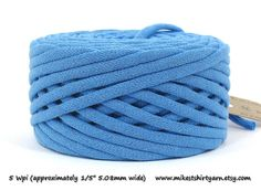 Blue Recycled T Shirt Yarn. 36 Yards. Super Bulky Jewelry Supply from MikesTShirtYarn.