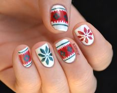 christmas nail, nail art, manicure idea, red, green, white
