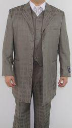 Men's 7 Button Zoot Suit Taupe Tonal Window  Pattern Suit
