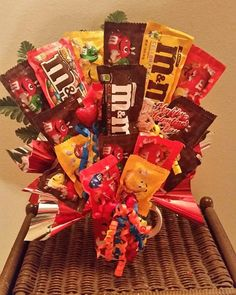 M & M Candy Bouquet Happy Birthday Candy Bouquet Happy Birthday Candy, Birthday Presents, Birthday Wishes, Happy Birthday, Money Bouquet, Candy Arrangements, Best Graduation Gifts, Rainbow Candy, Birthday Bouquet