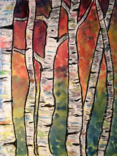 Splats, Scraps and Glue Blobs; 2nd grade oil pastels & watercolor birch trees