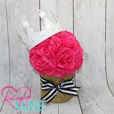 Hot Pink, Black & White Stripes Ribbon, White Crown and Glitter Gold Centerpiece  This listing is for 1 centerpiece, as shown. The centerpiece is a