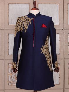 Shop Navy blue silk wedding wear indo western online from India. Sherwani For Men Wedding, Wedding Dresses Men Indian, Wedding Dress Men, Wedding Suits, Men's Wedding Wear, Indian Men Fashion, Mens Fashion Suits, Indian Groom Dress, Mens Ethnic Wear