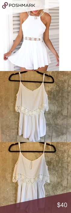 White Crochet Waist Romper Another gorgeous piece from Milan (it is, after all, the world's fashion capital ☺️)! This limited edition romper cannot be purchased anywhere in the US! Features a floral crochet design, cinches at the waist to flatter your figure, & has doubled layered shorts to make sure your bottoms don't show through. Worn once, but I have the same one in light pink, so I decided to sell this one! Just dry-cleaned. (Not FLL, tagged for exposure) For Love and Lemons Pants…