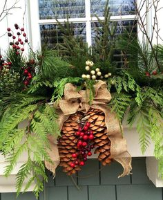 Winter Window Boxes Outdoor 1 - Winter Window Boxes Outdoor 1 - How to Dress Up Inexpensive Garland items Sprucing up the window boxes for Christmas with greenery, pine cones, tartan ribbon and rusty metal jingle bell garland Christmas Window Boxes, Winter Window Boxes, Christmas Planters, Christmas Porch, Outdoor Christmas Decorations, Christmas Wreaths, Holiday Decor, Fall Planters, Cement Planters