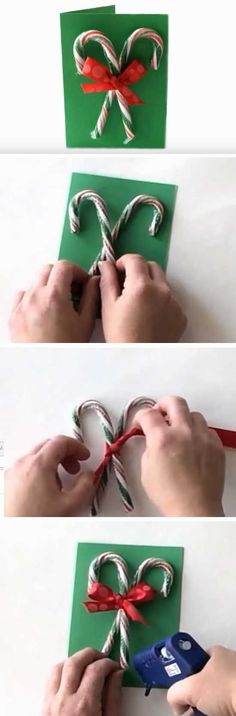 Candy Canes | 20 + DIY Christmas Cards for Kids to Make