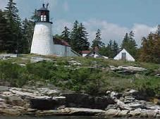 Burnt Island Lighthouse~Burnt Island is a beautiful five-acre island owned by the Maine Department of Marine Resources. It is near the mainland and approximately one mile from the port of Boothbay Harbor. The historic buildings at this active lighthouse station have been carefully restored and transformed into an exceptionally fine educational facility.