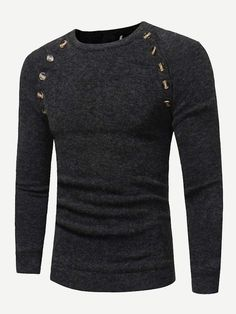 7971d255eeb1 Men Button Detail Solid Sweater. Sweater And ShortsMen SweaterSweater HoodiePulloverParty  ...