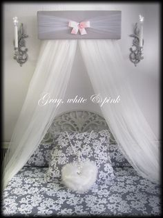 CrOwN Pelmet Upholstered Awning GRAY White PINK Princess Bed Canopy girls bedroom nursery crib custom design So Zoey Boutique SALE by SoZoeyBoutique on Etsy https://www.etsy.com/listing/281401362/crown-pelmet-upholstered-awning-gray