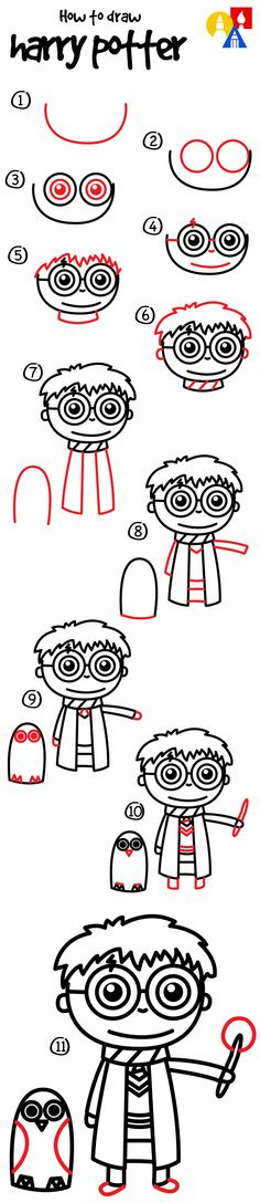 Learn how to draw a cartoon Harry Potter!
