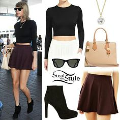 Find images and videos about Taylor Swift and steal her style on We Heart It - the app to get lost in what you love. Taylor Swift Outfits, Taylor Swift Style, 90s Fashion, Fashion Outfits, Fashion Trends, Fashion Ideas, Maroon Skirt, Casual Outfits, Cute Outfits