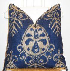 Blue and Cream Ikat Throw Pillow Cover -- Duralee Fabric