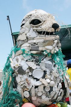 Art made from trash and materials washed ashore in the SF Bay Area--bringing awareness of marine debris and plastic pollution: www.washedashore.org/ #earth #day Pin by Ken Carino. Reminds us to reduce, reuse, and recycle. AFS