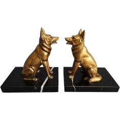 Art Deco German Shepherd Dog Bronze & Marble Bookends