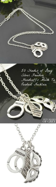 50 Shades of Grey Silver Freedom Handcuffs Mask Tie Pendant Necklace! Click The Image To Buy It Now or Tag Someone You Want To Buy This For.  #50ShadesofGrey