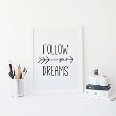 Citazioni motivazionali segui il tuo sogni freccia di NordicWhimsy