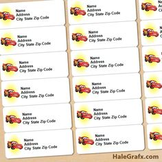 FREE Printable Disney Cars Lightning McQueen Address Labels