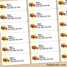 FREE Printable Disney Cars Lightning McQueen Address Labels