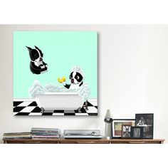 A charming addition to your powder room or gallery wall, this eye-catching canvas print showcases a lovely Boston Terrier motif for a touch of heart-warming appeal.
