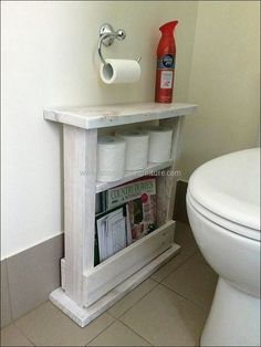 Using a wood pallet to create small bathroom storage ideas is a clever way to add character and rustic beauty to your bathroom.