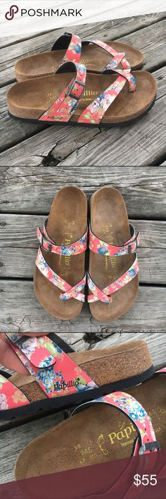 """Never Worn Birkenstock Floral """"Mayari"""" Sandals Never Worn Papillo by Birkenstock Floral """"Mayari"""" Sandals. Super cute style. These have never been worn - only tried on. You need these shoes. Purchased from Birkenstock website. Fits 7.5/8 Birkenstock Shoes Sandals"""