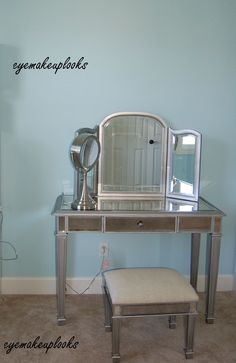 A makeup room with Pier 1 Hayworth Vanity, Mirror and Bench.. I'd love my very own makeup room!