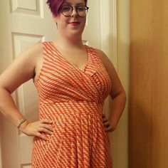 Dress - Final Sale White background with orange print; very high quality. Washed half a dozen times and it looks new. Perfect for work in any season and on any shape body. Lands' End Dresses