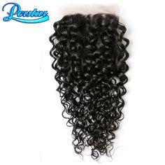 Peruvain cierre onda de agua del pelo vrgin lace closure 4x4 lace closure con pelo del bebé del pelo humano extensiones de dhl shippping libre