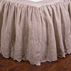 """Pom Pom at Home - OverviewThe Annabelle Bed Skirt is a classic dust ruffle that features a gathered, lace design. Details & Care100% linen voile drop18"""" dropLinedMachine wash"""