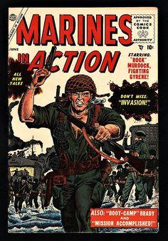Marines In Action (Volume) - Comic Vine Batman Detective, Detective Comics, War Comics, Marvel Comics, Vintage Comics, Vintage Books, Comic Book Covers, Comic Books, Western Comics