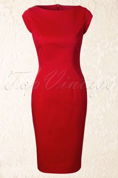 The Pretty Dress Company - TopVintage exclusive ~ 50s Brigitte Pencil Dress in Red