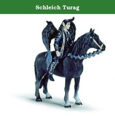 Schleich Turag. Turag, the dark army commander of the shadow elves. With his glistening vambraces and greaves, Turag is always ready for battle. His pitch-black hair goes with his dark wings interwoven with silver just as it does with his night-coloured coat. Ephaam, his black horse is just as wild and fast as his master. Over the years, Turag's power and cunning have taken him to the head of the elf army. Just like Ophira, he seems to be a loyal subject of his Princess Nuray. But he also...