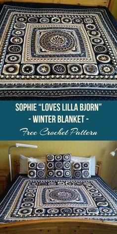 "Sophie ""Loves Lilla Bjorn"" Winter Blanket [Free Crochet Pattern] Wonderful Sophie Free crochet blanket pattern #crochet #crochetlove #freepattern"