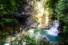 Lynn Canyon Park in North Vancouver; has trails, suspension bridges and waterfalls! Can get there by bus from downtown Vancouver.