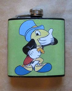 Jiminy Cricket flask by TheAntiquatedCrow on etsy.