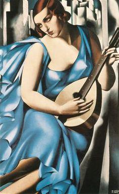 Blue Woman with a Guitar, 1929 -Tamara de Lempicka - by style - Art Deco Art Deco Paintings, Art Deco Artists, Amazing Paintings, Pinturas Art Deco, Tamara Lempicka, Moda Art Deco, Art Deco Stil, Estilo Art Deco, Art Deco Movement