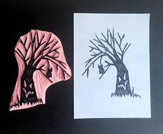 Spooky tree stamp, monster tree hand carved stamp, halloween rubber stamp, tree…