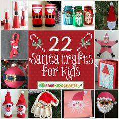 Ho-Ho-Happy Holidays! Don't miss this collection of 22 Santa Crafts for Kids: Homemade Christmas Ornaments and other Jolly Christmas Craft Ideas | AllFreeKidsCrafts.com
