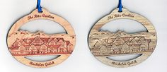 Laser engraved ornaments for The Ritz-Carlton. Cherry wood on the left, Rocky Mountain Beetle-Kill Pine on the right. Which option wood you choose? Wooden Ornaments, Christmas Ornaments, Fort Collins, How To Make Ornaments, Beetle, Laser Engraving, Pine, Cherry, Mountain
