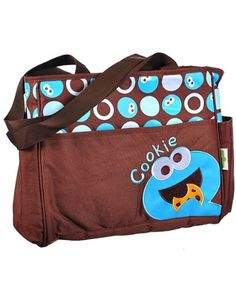 """Cool! :)) Pin This & Follow Us! zBabyBaby.com is your Baby Gallery ;) CLICK IMAGE TWICE for Pricing and Info :) SEE A LARGER SELECTION  baby diaper bag at http://zbabybaby.com/category/baby-categories/baby-diapering/baby-diaper-bags/ -  #baby #babyshower #babystuff #babygear #nursery #daiperbag #infant #babybag  - Sesame Street """"Cookie Monster"""" Diaper Tote Bag – brown, one size « zBabyBaby.com"""