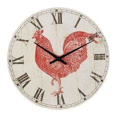 Rooster Wall Clock MDF Round Vintage Wall Clock Kitchen Decoration #Midwest #AnimalPrint