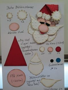 Santa #PunchArt using SU punches: petal flower and bird punch among other punches  visit me at http://stampingwithbibiana.blogspot.com/