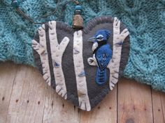 Blue Jay in Birch Ornament by SandhraLee on Etsy