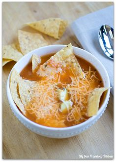 Homemade Chicken Tortilla Soup recipe for the cooler Fall weather