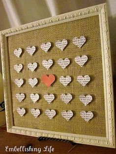 Hearts on burlap   Make for Mom. Punch the word hearts out of her favorite bible verses for her.
