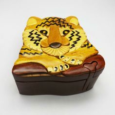Handmade Art Intarsia Wooden Puzzle Box - Tiger
