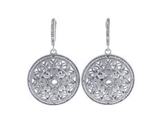 STERLING SILVER DANGLE EARRINGS SET WITH 32  ROUND DIAMONDS WEIGHING 1/10 CARAT TOTAL